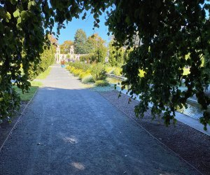 A long pathway at Untermyer Garden