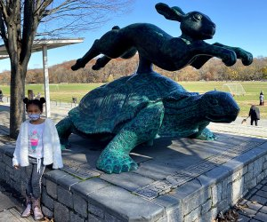 Take inspiration for your visit to Van Cortlandt Park from the Tortoise and the Hare statue: slow and steady. There's so much to see in the park, you'll never do it all in one day.