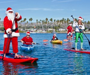 Only in LA can you paddle with Santa. Photo courtesy of Ventura Harbor Village