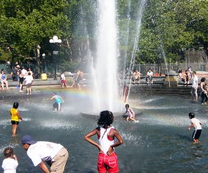 Washington Square Park's huge fountain is a wonderful summer destination for kids. Photo by Shinya Suzuki via Flickr