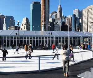 Pier 17 boasts the only rooftop skating rink in NYC.