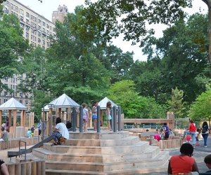 Wide view of climbing structures at Central Park's Wild West Playground