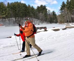 Rent cross country skis and hit the groomed paths of Winding Trails. Photo courtesy of Winding Trails