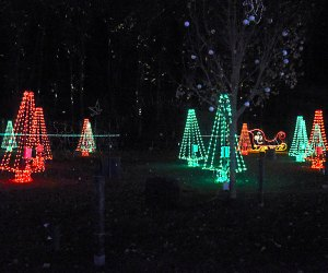 red and green-lit Christmas trees dot the night sky
