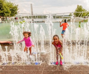 The playful water jets at Yards Park are ideal for younger kids. Photo courtesy of Capitol Riverfront Business Improvement District