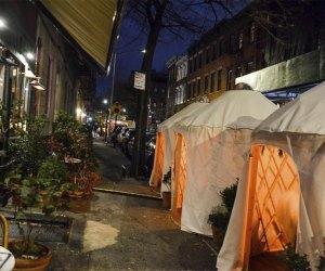 Fairfax offers a yurt village outdoor dining setup