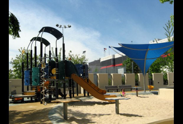 Chelsea Waterside Playground, lots of water features and a huge sandbox