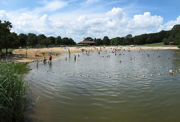 Hooks Creek Lake's swimming beach