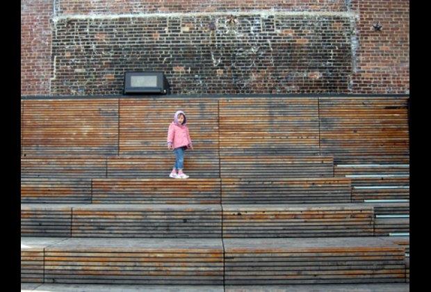 The High Line's stadium seats near 23rd Street offer a wonderful view
