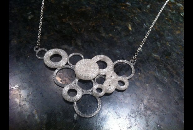 A necklace designed by and printed on a 3D printer at Pixel Academy