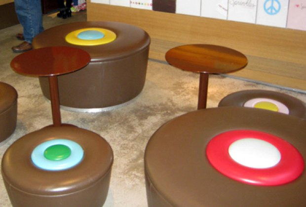 Cupcake-shaped seats and tables