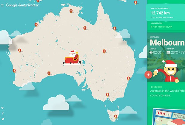 Track Santa as he treks across the globe.