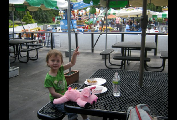 Picnic tables outdoors with a view of the rides