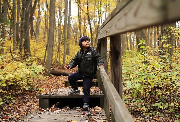 Toddler boy on a hiking trail at Cheesequake State park open now in New Jersey