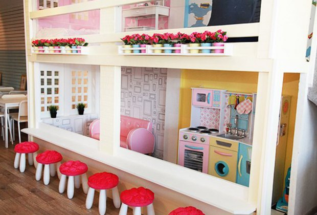 a dollhouse and play space at a Latte Fun Play Spaces on Long Island Open Now