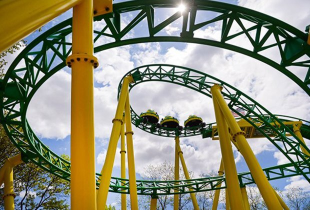 Hop aboard a roller coaster at Adventureland amusement park