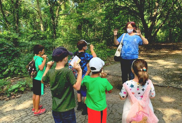 Instructor leads outdoor classes at the Alley Pond Environmental Center