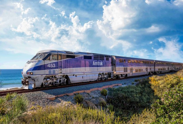 Amtrak's Pacific Surfliner heads down the coast. Photo courtesy of Amtrak