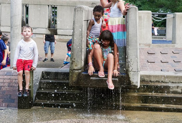 Explore all the nooks and crannies of the unique water play area.