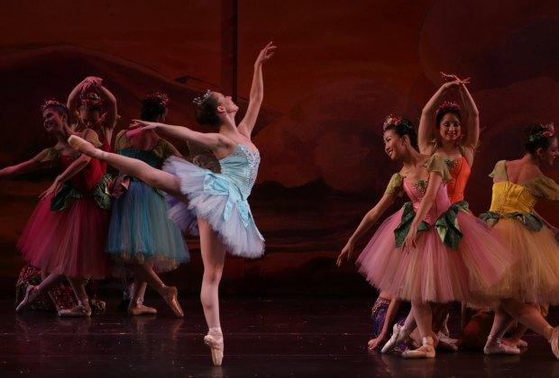 Dewdrop and her fleet of flowers waltz in American Repertory Ballet's Nutcracker.