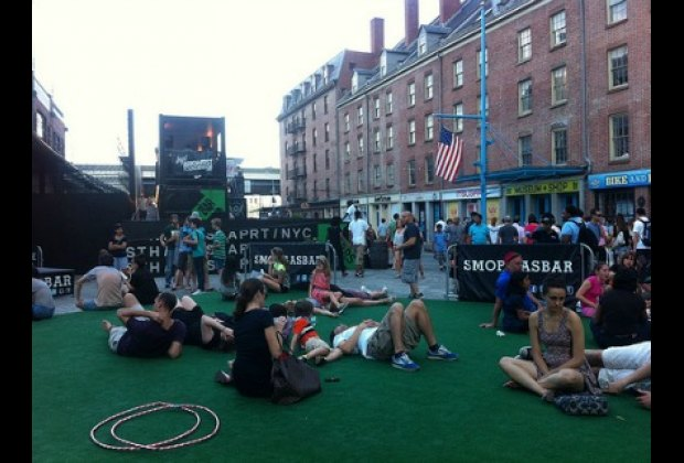 Hanging out on the AstroTurf at SmorgasBar