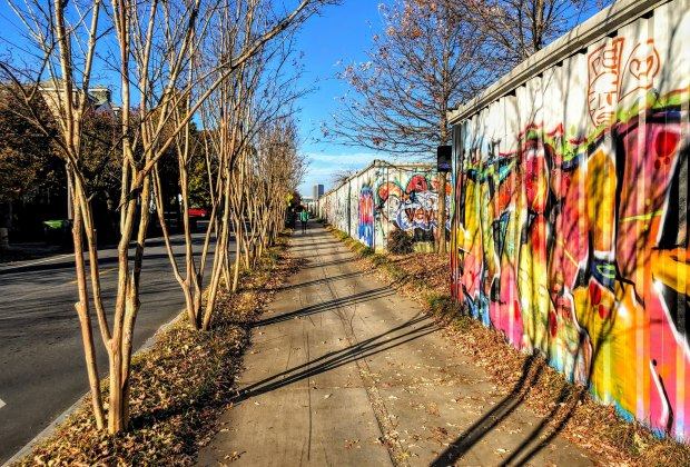 Events along the route are canceled, but the Atlanta BeltLine urban walking trail is open during the crisis. Photo courtesy of the Atlanta Beltline