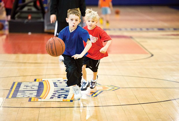 Chelsea Piers Field House basketball clinic teaches fundamentals in a fun environment.