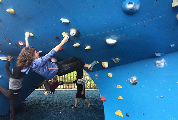 Test your strength at DUMBO Boulders.