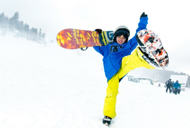 Snowboard show off at Big Bear Mountain Resort