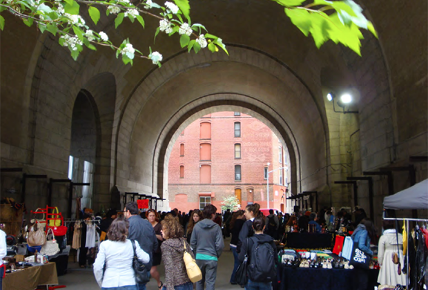 Shop under the archway at Brooklyn Flea.