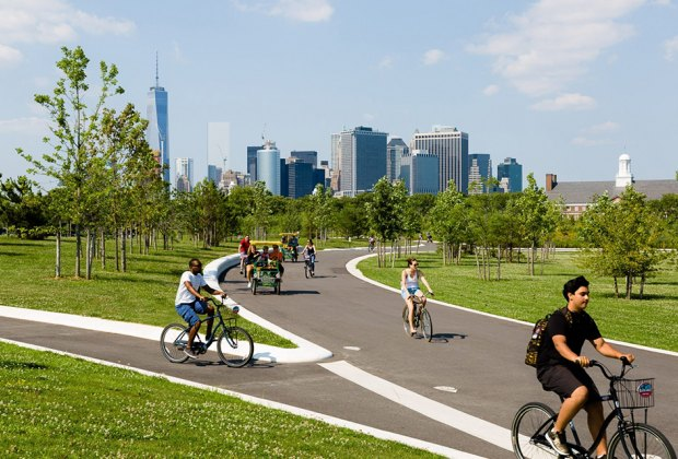 Bring your bike on the ferry or rent a bike from Blazing Saddles on Governors Island. Photo courtesy of Governors  Island