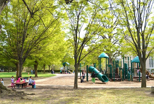 Kids will delight in Blumenfeld Family Park on Main Street all year round. Photo courtesy of the Town of North Hempstead