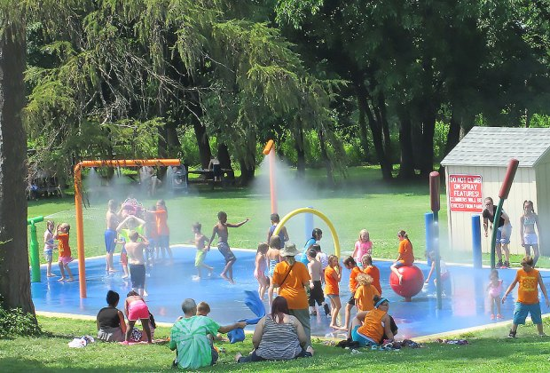 The colorful Bowdoin Park splas pad