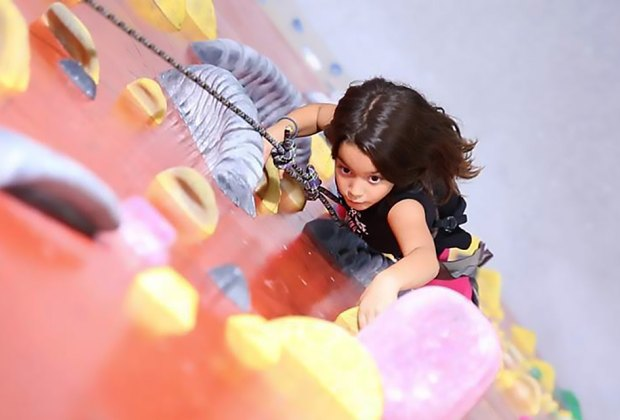 The climbing wall at Brooklyn Boulders will challenge kids to climb to high heights. Photo courtesy of Brooklyn Boulders