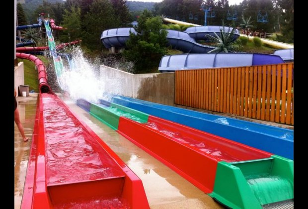Water slides at Camelback Beach