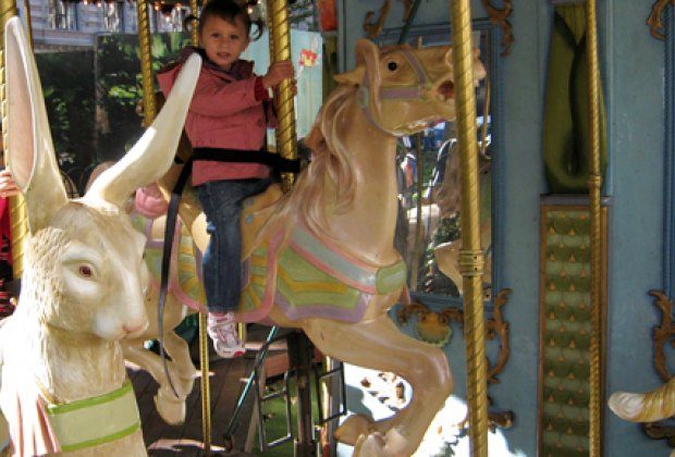 Riding Le Carrousel in Bryant Park