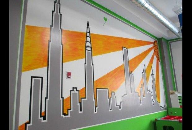 Beautiful skyline mural at Sensory City