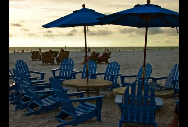 The beachside Tiki Bar at dusk