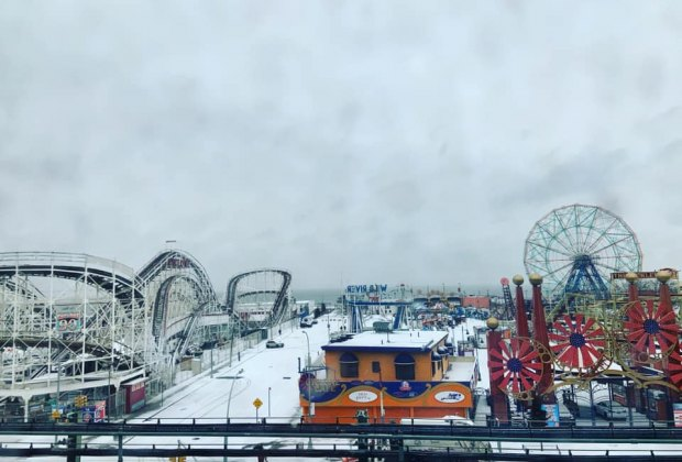 Coney Island covred in snow is a sight to behold