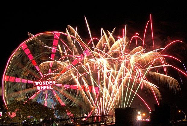 Fireworks illuminate the Coney Island sky