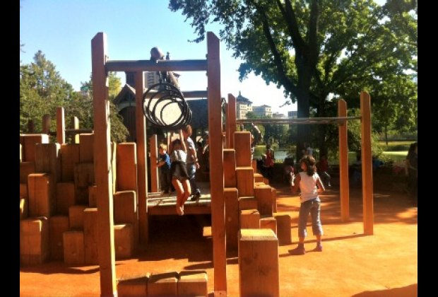 The wooden play structure is a tribute to the old playground