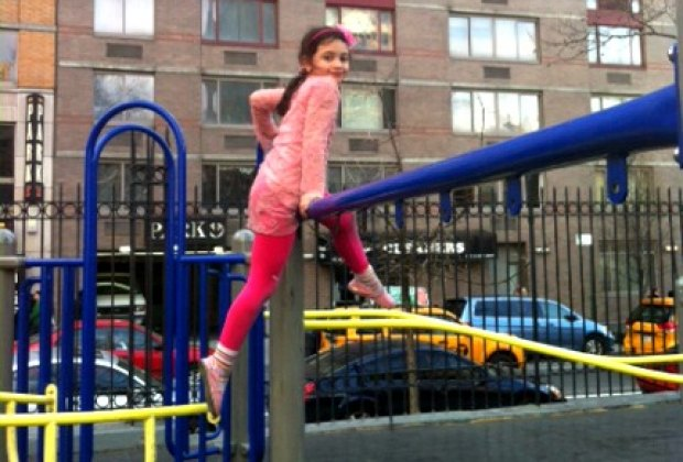 McCaffrey Playground's equipment is pretty basic, but it's always busy<br /> since it's so close to Times Square