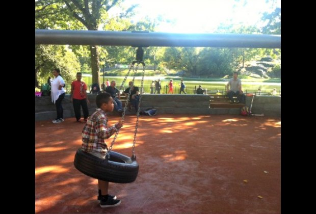 There are three tire swings and...