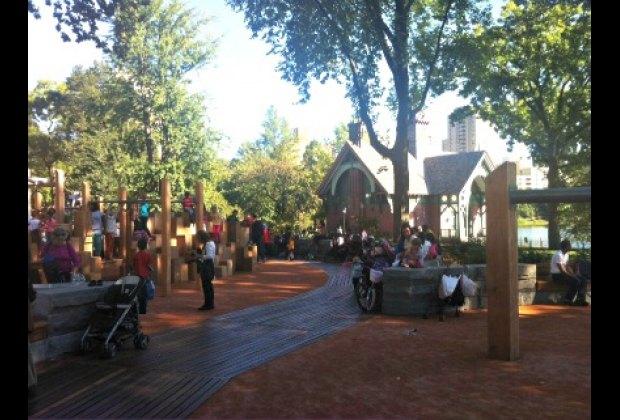 The playground offers lovely unobstructed views of the Dana Discovery Center...