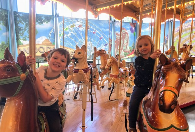 It doesn't have to be summer to ride a carousel. Hop aboard the beautiful indoor one at Please Touch Museum!
