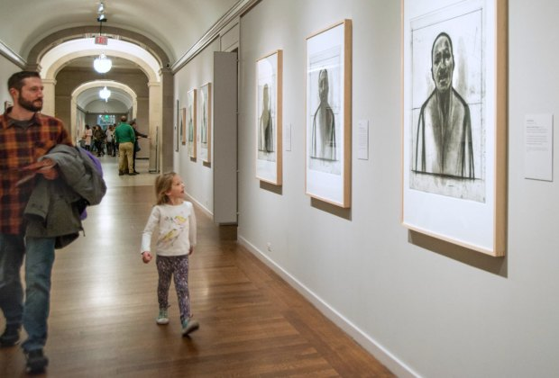 Exploring the MFA with Kids: kids looking at art