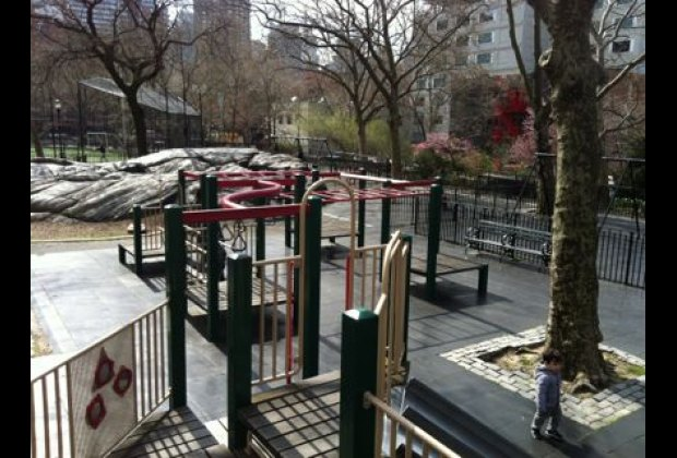 Bird's-eye view from atop the play structure in DeWitt Clinton Park