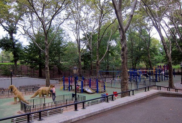 Dinosaur Playground in Riverside Park at 96th Street is accessible and special-needs-friendly. Photo courtesy of NYC Parks and Recreation