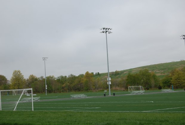 There's stadium lighting and bleachers--you no longer have to bring your own chairs!