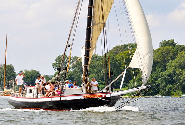 The Christeen sails the Long Island harbor